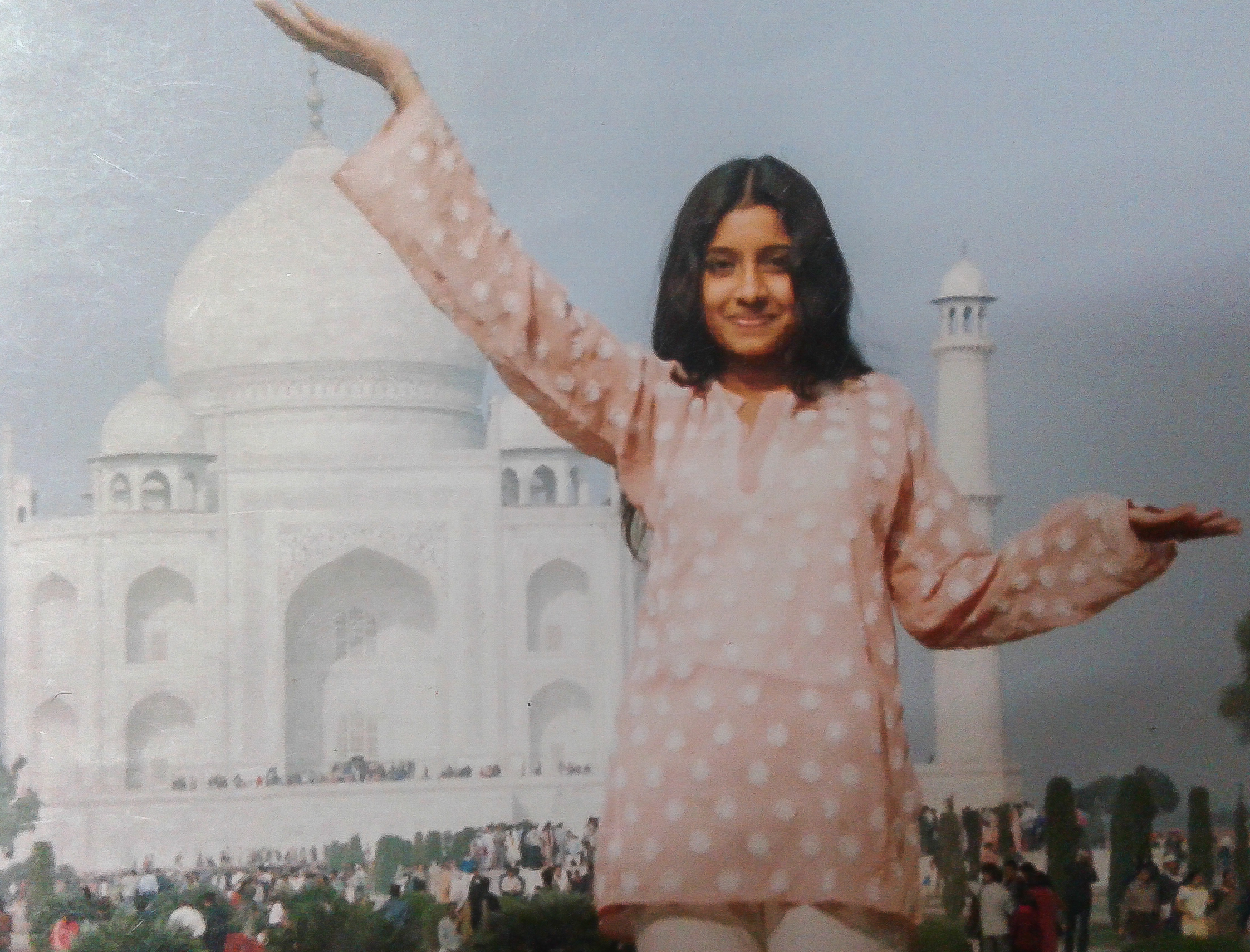 This picture was taken  when I was 17, on a family vacation at Agra, Delhi. Embarrassing but what the hell!